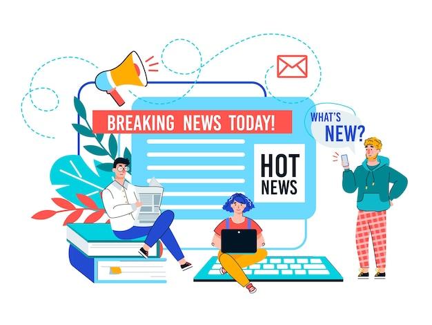 Aktualizacja wiadomości online i ilustracja kreskówka transparent z najświeższymi wiadomościami.