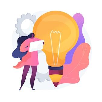 Aktualne trendy biznesowe. tendencje marketingowe, kierunek ekonomiczny, innowacyjne rozwiązania. ekspert badający nowe pomysły, kreatywne podejście do biznesu. ilustracja wektorowa na białym tle koncepcja metafora