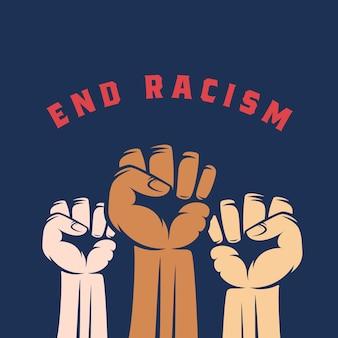 Aktywistka pięści z innym kolorem skóry i tekstem kończącym rasizm. streszczenie etykiety antyrasistowskiej, strajku lub innego protestu, godła lub szablonu karty. niebieskie tło.