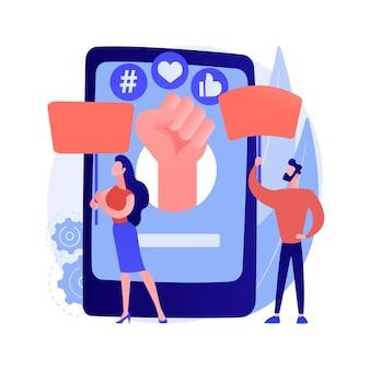 Aktywizm online streszczenie koncepcja ilustracji wektorowych. aktywizm internetowy, komunikacja cyfrowa, publikowanie w mediach społecznościowych, dostarczanie informacji, grupa docelowa, abstrakcyjna metafora marketingu hashtagowego.