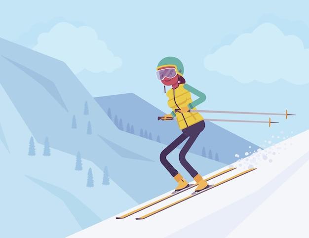 Aktywna kobieta sportowy na nartach zjazdowych