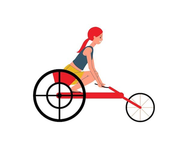 Aktywna niepełnosprawna kobieta - sportsmenka lub sportowiec na wózku inwalidzkim, ilustracja na białym tle. niepełnosprawna postać z kreskówki kobiet konkuruje.