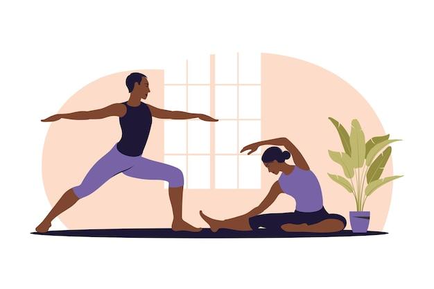 Aktywna para robi ćwiczenia. afrykański mężczyzna i kobieta razem trenują w domu. sport w przytulnym wnętrzu. ilustracja. mieszkanie.