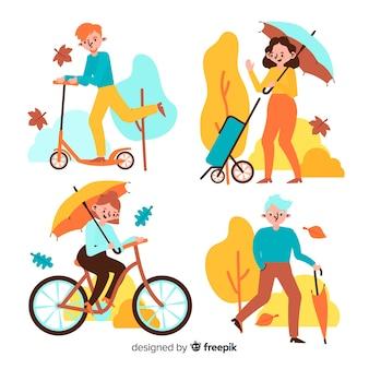 Aktywni ludzie jesieni w parkowej ilustraci