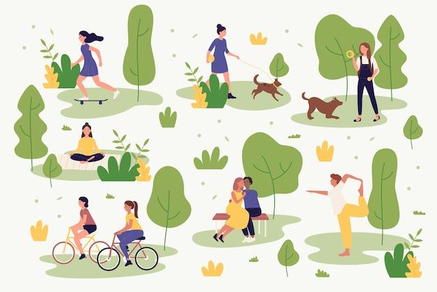 Aktywni ludzie w lato park ilustracji. postaci z kreskówek chodzą, jeżdżą na rowerze, uprawiają jogę, odpoczywają, grają i biegają. aktywność na świeżym powietrzu w parku miejskim