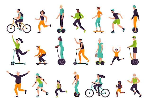 Aktywni ludzie. zdrowy tryb życia, zajęcia na świeżym powietrzu, bieganie i jogging