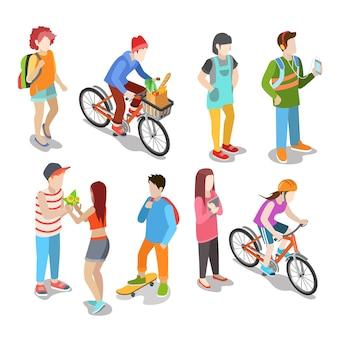 Aktywni miejscy młodzi przypadkowi ludzie ulicy płaski izometryczny