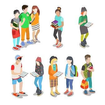 Aktywni miejscy młodzi studenci przypadkowi ludzie ulicy płaski izometryczny