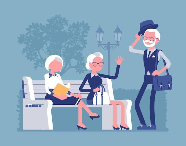 Aktywni seniorzy w parku ilustracji