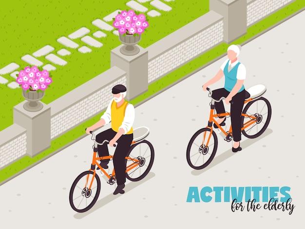 Aktywni starsi ludzie ilustracyjni z jeździć na rowerze w czas wolny symbolach isometric