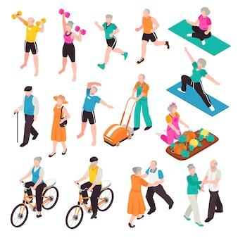 Aktywni starsi ludzie ustawiający z sportem i rekreacyjnymi symbolami isometric odizolowywającymi