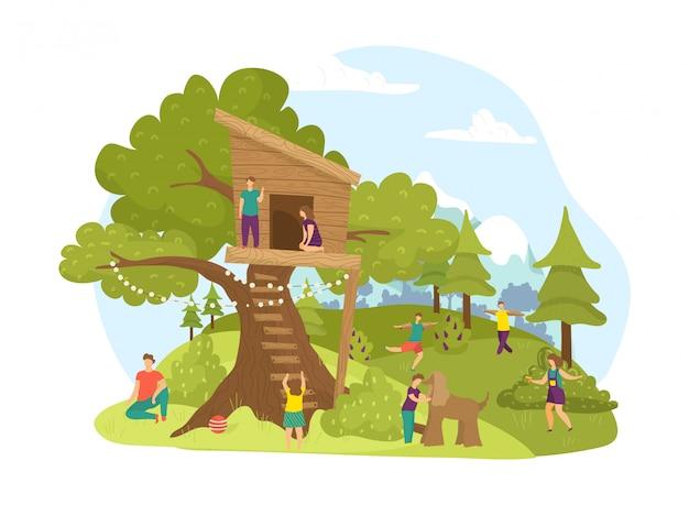 Aktywność dzieci w parku, lato ilustracja z dzieciństwa drewniany domek na drzewie. krajobraz budynku domku na drzewie, chłopiec dziewczyna grać. zielony ogród dla dzieci, ładny plac zabaw na świeżym powietrzu.