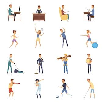 Aktywność fizyczna i styl życia na białym tle zestaw ikon
