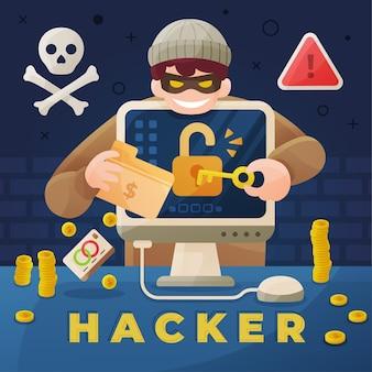 Aktywność hakera z komputerem