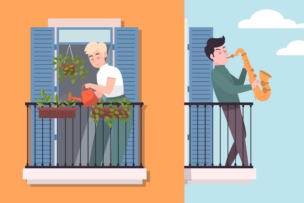 Aktywność ludzi na balkonie ilustruje pojęcie