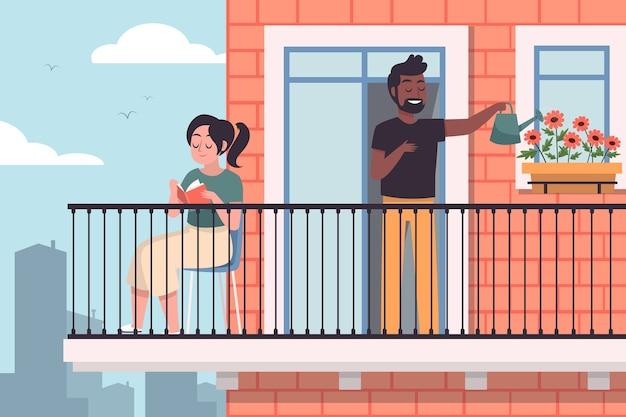 Aktywność ludzi na ilustrowanym balkonie