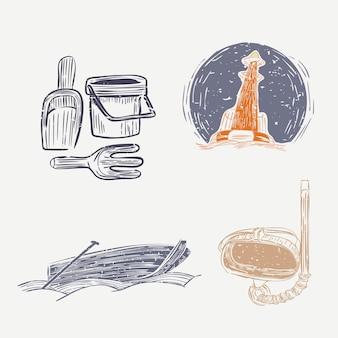 Aktywność na morzu w nocy śliczna kolekcja elementów linorytu