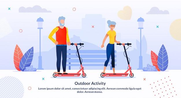 Aktywność na świeżym powietrzu dla osób na emeryturze szablon flat