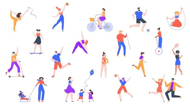 Aktywność na świeżym powietrzu. postacie biegają i uprawiają sport, zdrowe zajęcia na świeżym powietrzu, jazda na hulajnodze, jazda na rolkach i zestaw ikon na rowerze. charakter działalności sportowej, ilustracja badmintona