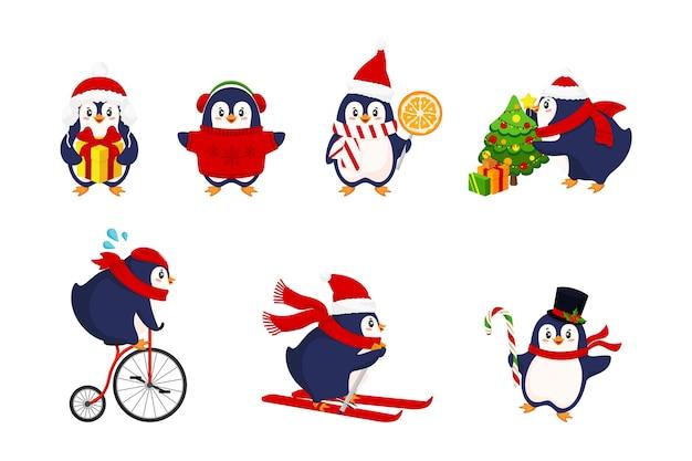 Aktywność pingwinów zimą. kolekcja ładny ręcznie rysowane pingwiny, wesołych świąt.