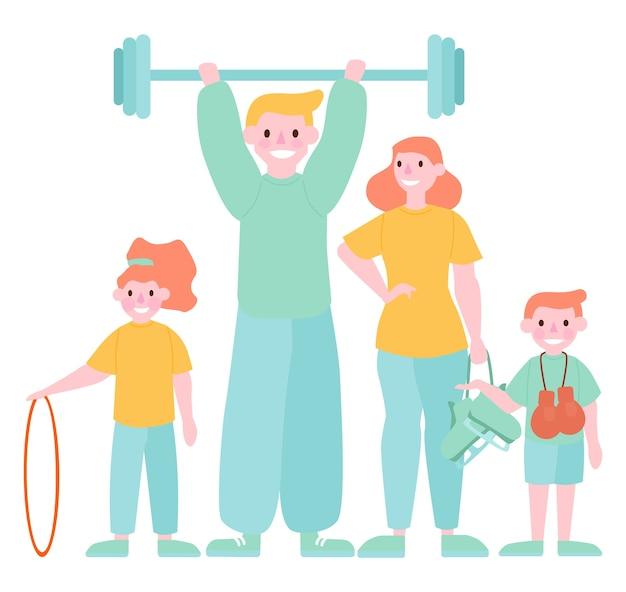 Aktywność rodzinna i sportowa. matka, ojciec i dzieci uprawiają gimnastykę