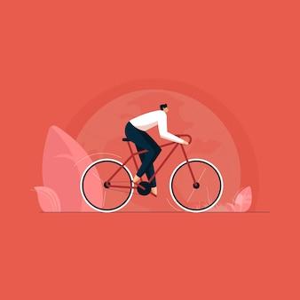 Aktywność rowerowa w naturze dla cieście zdrowego życia światowy dzień roweru osoba jeżdżąca na rowerze