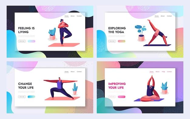 Aktywność sportowa, ćwiczenia, postacie uprawiające jogę w różnych pozach. fitness, rozciąganie, zdrowy tryb życia, wypoczynek. strona docelowa witryny, strona internetowa. ilustracja wektorowa płaski kreskówka