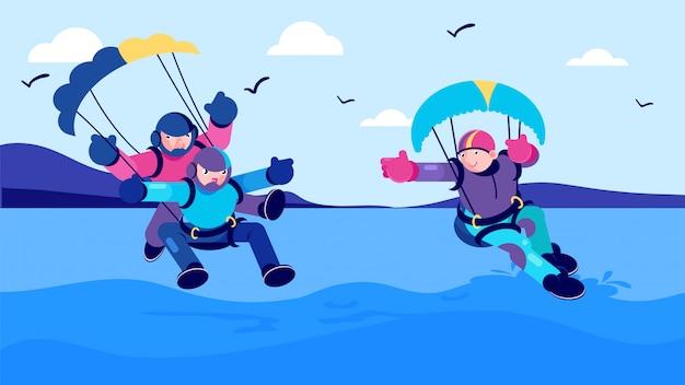 Aktywność sportowa lato, morze skok spadochronowy ilustracja. mężczyzna kobieta ludzie postać z kreskówki zabawy ekstremalne spadochroniarstwo.