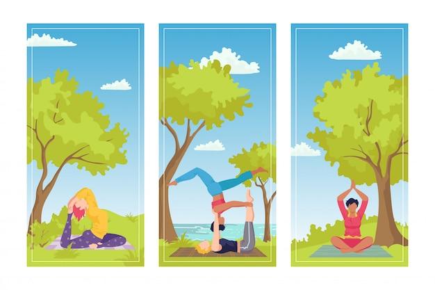 Aktywność w parku, relaksacyjne ćwiczenia jogi na ilustracji przyrody. zdrowy styl życia ze sportem fitness, trening osób. medytacja asan i zdrowy trening z zestawem kobiecym.