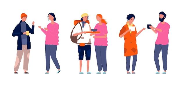 Aktywność wolontariuszy. bezdomni biedni ludzie i pomocnicy.