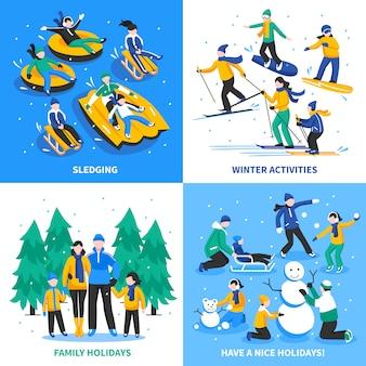 Aktywność zimowa koncepcja 2x2