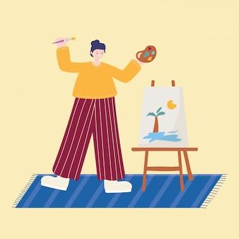 Aktywności ludzi, kobieta malująca pejzaż letni