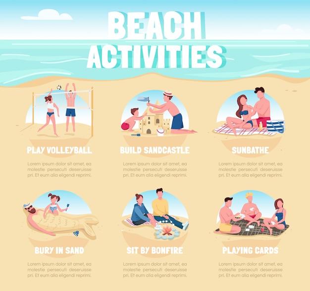 Aktywności na plaży płaski kolor plansza informacyjna szablon. letni plakat rekreacyjny, broszura, koncepcja strony ppt z postaciami z kreskówek. ulotka reklamowa, ulotka, pomysł na baner informacyjny