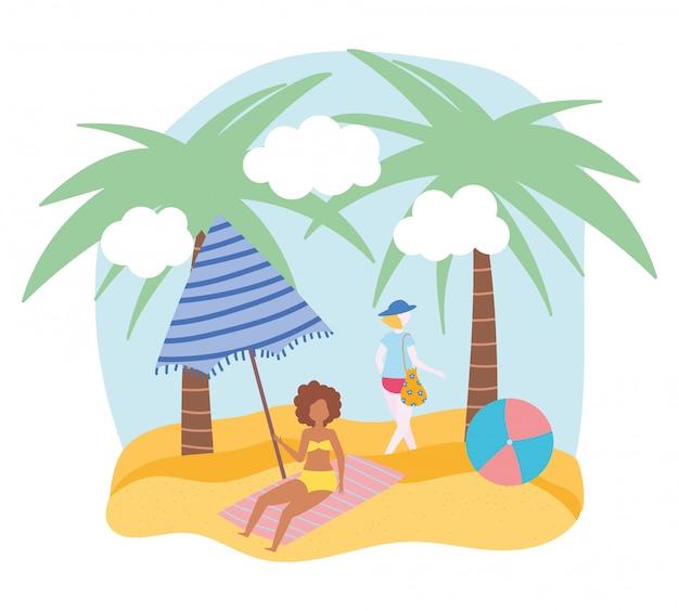 Aktywności osób latem, kobieta i dziewczyna z parasolem, pobrzeże relaksujące i wykonujące wolny czas na świeżym powietrzu