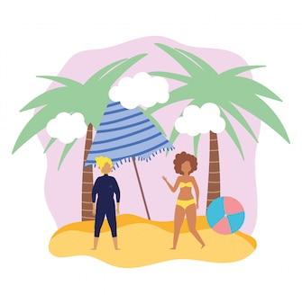 Aktywności osób letnich, mężczyzna i kobieta z parasolką, pobrzeże relaksujące i spędzanie wolnego czasu na świeżym powietrzu