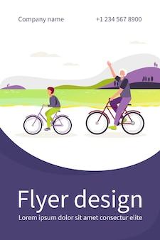 Aktywny dziadek i wnuk razem jeżdżący na rowerach. stary człowiek i chłopiec na rowerze na zewnątrz płaska ilustracja. szablon ulotki