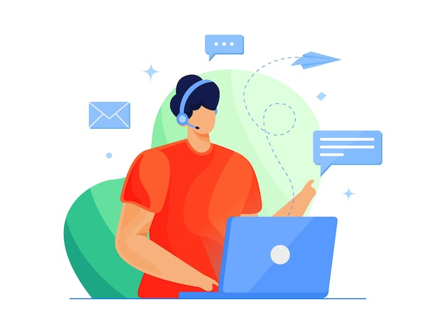 Aktywny operator obsługi klienta z zestawem słuchawkowym rozmawia z ilustracją klienta