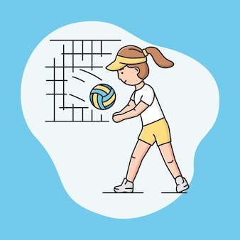 Aktywny sport i koncepcja zdrowego stylu życia. młoda wesoła dziewczyna gra w siatkówkę w szkole lub na uniwersytecie. siatkarz. gry sportowe. kreskówka liniowy zarys płaski styl wektor ilustracja.