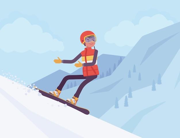 Aktywny sportowiec, jazda na snowboardzie