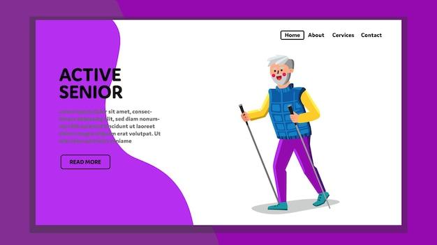 Aktywny starszy o sport fitness czas wektor. trening nordic walking aktywny senior z kijkami do sprzętu sportowego. postać dziadka pasuje do akcji poza web płaskie ilustracja kreskówka