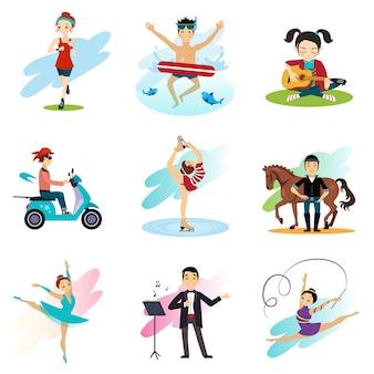 Aktywny styl życia, hobby, zestaw zdrowego stylu życia
