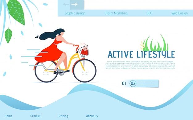 Aktywny styl życia. reklama na stronie docelowej na rowerze