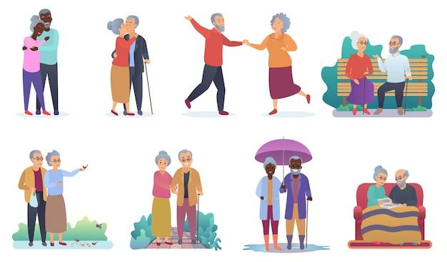 Aktywny tryb życia starych dziadków. postacie osób starszych.