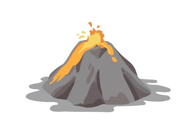 Aktywny wulkan wybuchający i wyrzucający fontannę lawy z krateru na białym tle