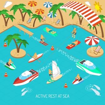 Aktywny wypoczynek na morzu koncepcji