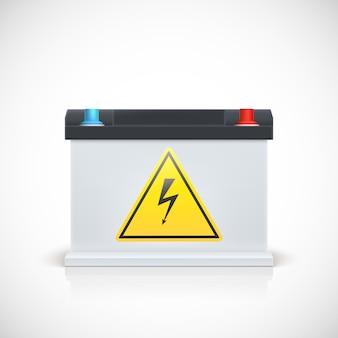 Akumulator samochodowy z naklejką ostrzegawczą