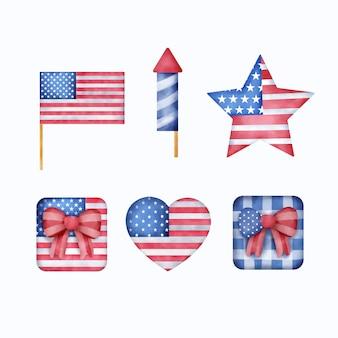 Akwarela 4 lipca - dzień niepodległości