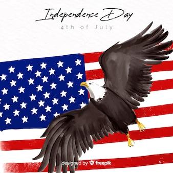 Akwarela 4 lipca - tło dzień niepodległości