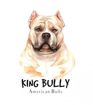 Akwarela amerykańskiego psa bully do druku.