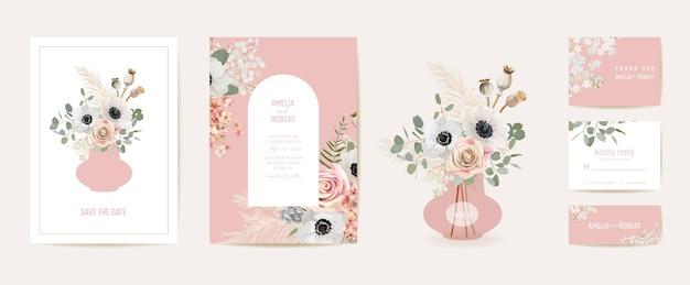 Akwarela anemon, trawa pampasowa, różowa karta ślubna kwiatowy. wektor letnie kwiaty zaproszenie. rama szablon boho. botanical save the date okładka z liści, nowoczesny plakat